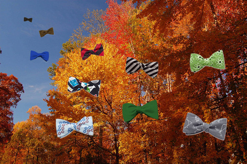 Bowties flying into the autumn sky