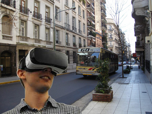 Man standing downtown with virtual reality goggles
