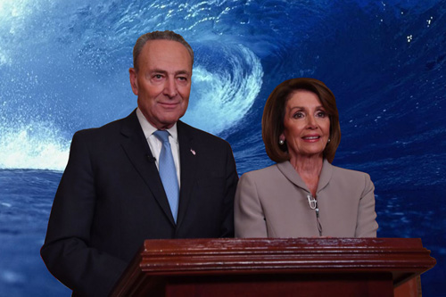 Chuck Schumer and Nancy Pelosi at the podium with a blue wave backdrop.